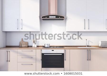hout · luxe · groot · keuken · eetkamer · Rood - stockfoto © lunamarina