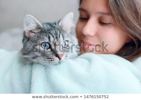 gyönyörű · fiatal · nő · etetés · macska · otthon · nő - stock fotó © hasloo
