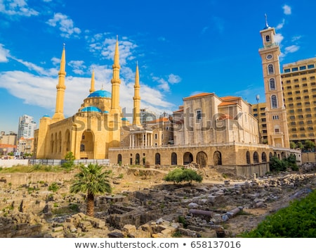 iszlám · mecset · kilátás · naplemente · fű · kék - stock fotó © travelphotography