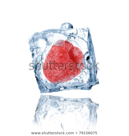 Ice cube and raspberries isolated Stock photo © Givaga