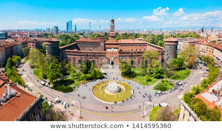 The Fountain and Sforzesco Castle in Milan, Lombardy, Italy Stock photo © anshar