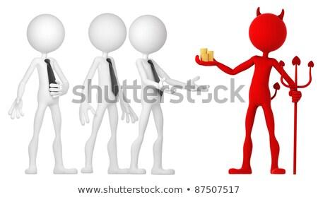 Stock fotó: ördög · üzletember · arany · érmék · izolált · fehér · pénzügy