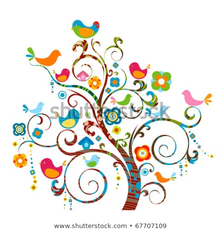 tree with swirly branches and birds  Stock photo © beaubelle