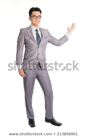 homem · de · negócios · abrir · brasão · bem-vindo · jovem · homem - foto stock © feedough
