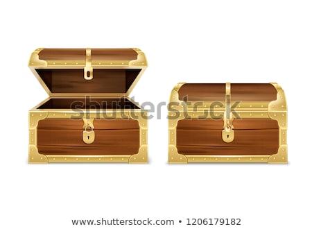 fából · készült · kincsesláda · arany · bent · doboz · ötlet - stock fotó © cidepix