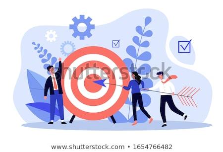 Stockfoto: Strategie · target · drie · pijlen · Blauw · corporate
