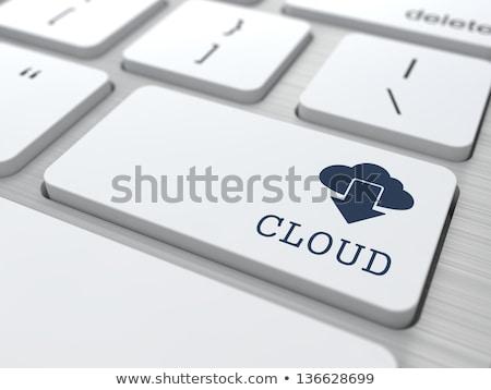 Réseau cloud mots bouton clavier ordinateur ciel Photo stock © fotoscool