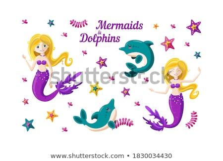 русалка · дельфин · Cute · плаванию · морем · фон - Сток-фото © carodi
