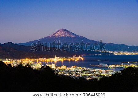 Stock photo: Mount Fuji, the port and sea in winter sunset
