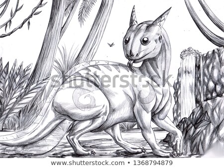 Ballpoint pen drawing with pen and dragon  Stock photo © Ustofre9