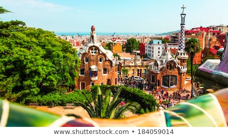 benches in beautiful park in barcelona spain stock photo © nejron