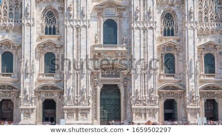 Grupy ludzi katedry wejście tłum sztuki retro Zdjęcia stock © Nejron