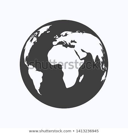 globe icon vector illustration flat design style stock photo © m_pavlov
