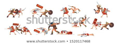Cartoon Roman legionary with sword and shield Stock photo © antonbrand