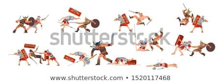 cartoon roman legionary with sword and shield stock photo © antonbrand