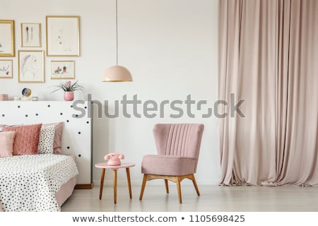 elegant room interior with armchair white curtain and chandelier stock photo © amok