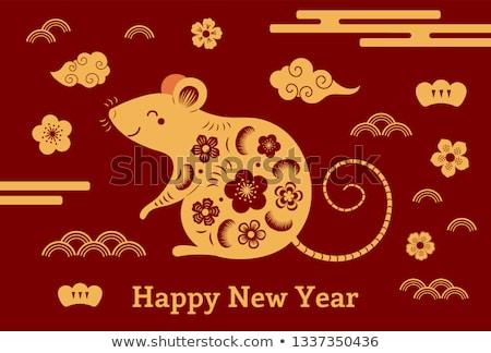 Chino dorado rata adornos monedas de oro ratón Foto stock © dezign56