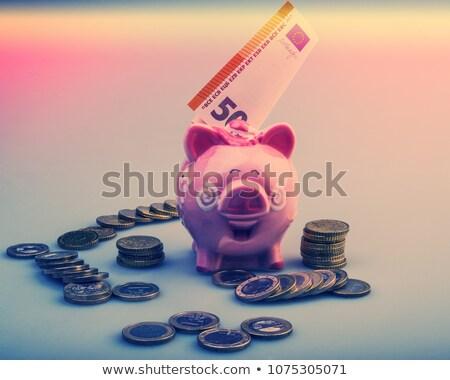 Piggy Coin Bank on fifity euro pile Stock photo © stevanovicigor