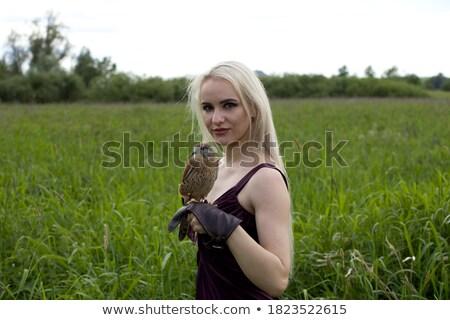 Blond lady with the falcon Stock photo © konradbak