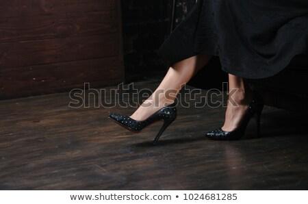 ストックフォト: ペア · 黒 · ハイヒール · 靴 · 孤立した · 白
