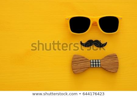 Snor symbool houten textuur achtergrond zwarte Stockfoto © pashabo