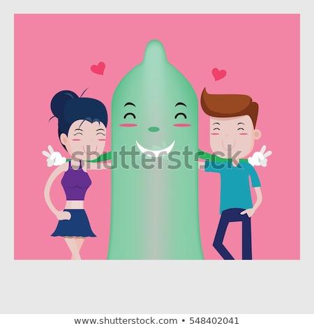 комического презерватива сердце вектора любви здоровья Сток-фото © tiKkraf69
