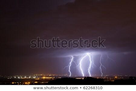 rayo · nubes · primavera · puesta · de · sol · campo - foto stock © ustofre9