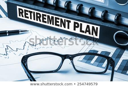 mappen · label · pensioen · plan · pensioen · geld - stockfoto © zerbor
