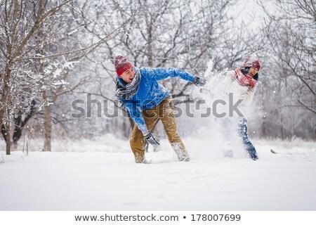 冬 森林 徒歩 幸せ カップル ストックフォト © Kor