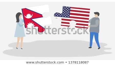 ABD Nepal bayraklar bilmece vektör görüntü Stok fotoğraf © Istanbul2009