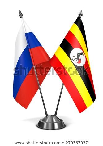 Rusya Uganda minyatür bayraklar yalıtılmış beyaz Stok fotoğraf © tashatuvango