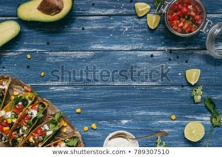 Taze ahşap mavi meyve tablo limon Stok fotoğraf © saralarys