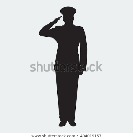 army general silhouette with hand gesture saluting Stock photo © Istanbul2009