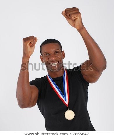 アメリカン ボディ 金メダル 女性 着用 金 ストックフォト © ssuaphoto
