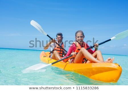 Kajak doświadczenie ilustracja wody sportu zabawy Zdjęcia stock © adrenalina