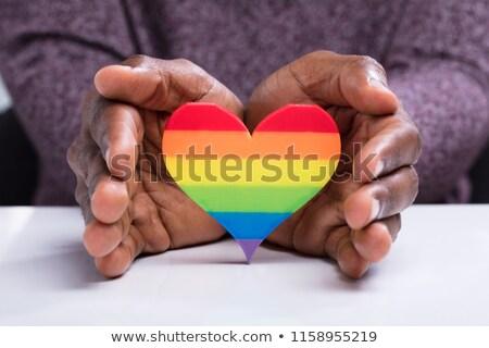 hands with rainbow heart shape over american flag Stock photo © dolgachov