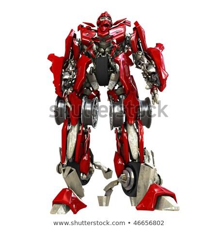 Militar robô transformador metálico isolado robótico Foto stock © jossdiim
