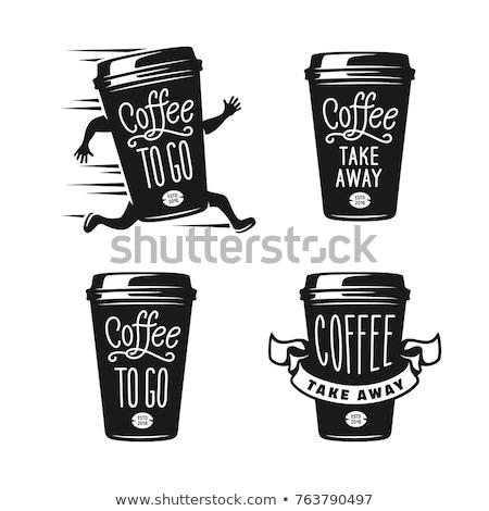 Yaratıcı kahve fincanı beyaz yeşil düğme siyah Stok fotoğraf © kirs-ua