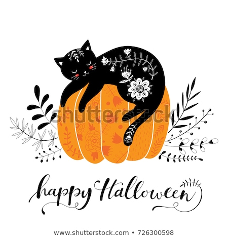 vector of black cat on pumpkin with autumn leaves stock photo © morphart