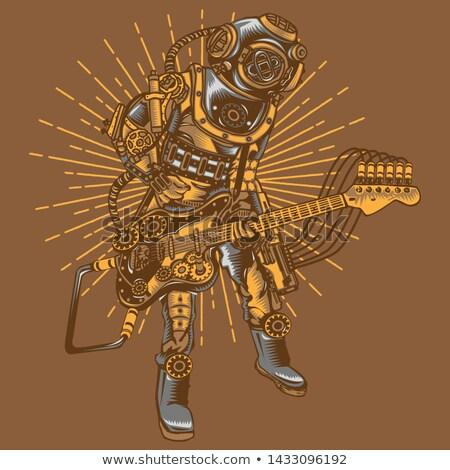 Steampunk gitár szexi rocker elektromos gitár nő Stock fotó © ClipArtMascots