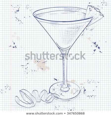 málna · koktél · martinis · pohár · fehér · gyümölcs · jég - stock fotó © netkov1