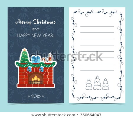 Christmas Card with fireplace and stockings Stock photo © adrenalina