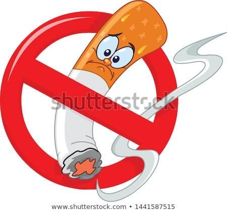 cartoon no smoking sign stock photo © nezezon