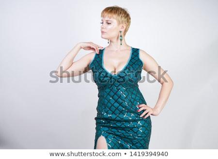Loiro cabelo menina verde vestir Foto stock © Elnur