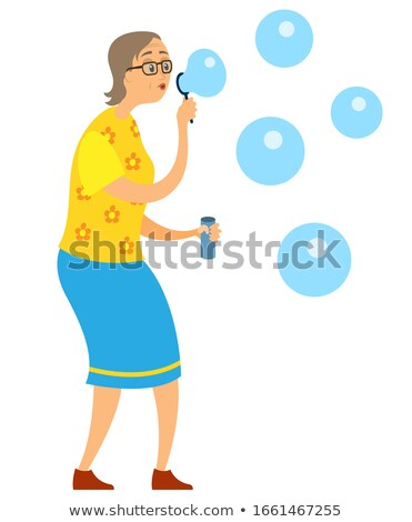 Przypadkowy kobieta bańki mydlane odizolowany biały Zdjęcia stock © deandrobot