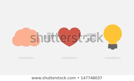 great idea heart brain and light vector icon stock photo © jabkitticha