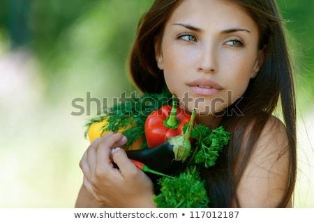 Cute peterselie vrouw glimlach gelukkig model Stockfoto © konradbak