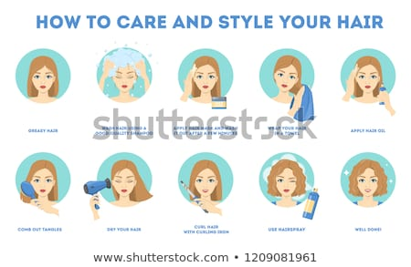 Woman in towel dries hair with hairdryer  Stock photo © deandrobot