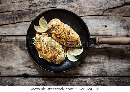 Pan pechuga de pollo alimentos pollo carne Foto stock © Digifoodstock
