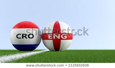croatia vs england flags on soccer field stock photo © kb-photodesign